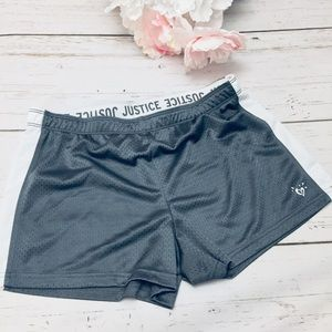 Foldover Mesh Justice Gray Sports Shorts